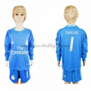 Kinder Fussball Trikot Real Madrid 2016-17 Casillas 1 Torwart Heim Trikotsatz langarm..
