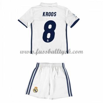 Kinder Fussball Trikot Real Madrid 2016-17 Kroos 8 Heim Trikotsatz Kurzarm