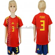 Nationalmannschaft Trikot Kinder Spanien WM 2018 Pique 3 Heim Trikotsatz Fussball Kurzarm..